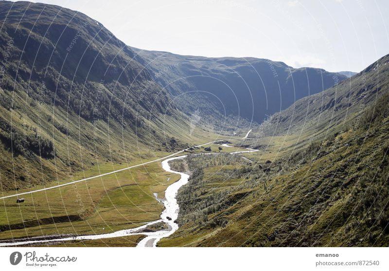glazial geprägt Himmel Natur Ferien & Urlaub & Reisen Pflanze grün Baum Landschaft Ferne Wald Berge u. Gebirge Straße Gras Eis Tourismus wandern Klima