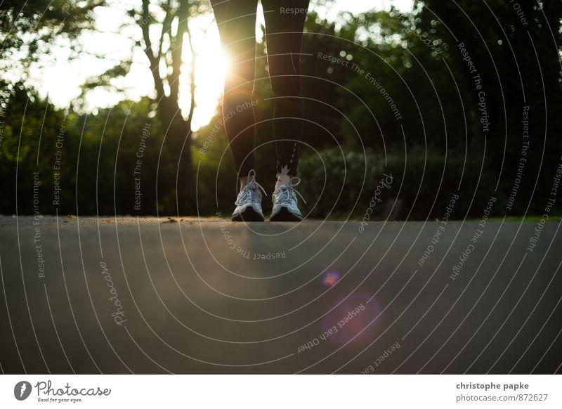 Pause Mensch feminin Sport Beine Fuß Park Freizeit & Hobby Lifestyle stehen Fitness Laufsport dünn sportlich Sport-Training Sportler Turnschuh