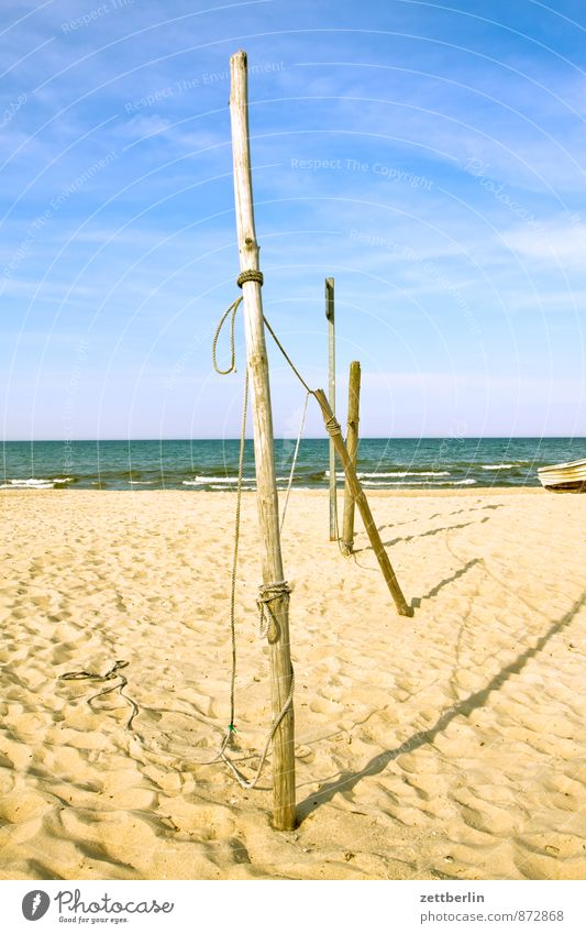 Stange Erholung Ferien & Urlaub & Reisen Horizont Küste Mecklenburg-Vorpommern Meer Ostsee Strand Menschenleer Ferne Sehnsucht Sand Sandstrand Textfreiraum