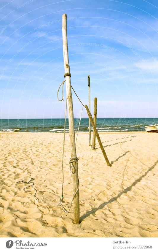 Stange Himmel Ferien & Urlaub & Reisen Wasser Sommer Sonne Meer Erholung Strand Ferne Küste Holz Sand Wasserfahrzeug Horizont Wellen Textfreiraum