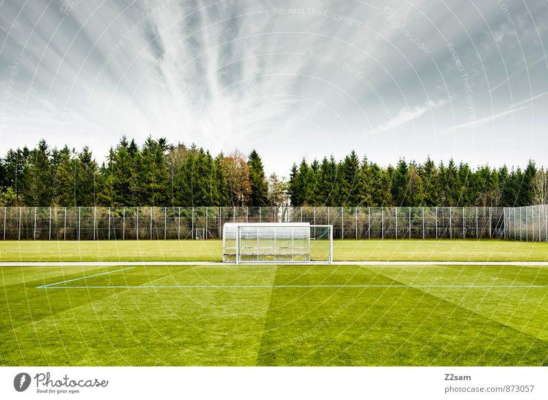 SPIEL R A U M Leben Freizeit & Hobby Ballsport Fußball Sportstätten Fußballplatz Landschaft Himmel Horizont Sommer Baum Sträucher Wiese natürlich trist blau