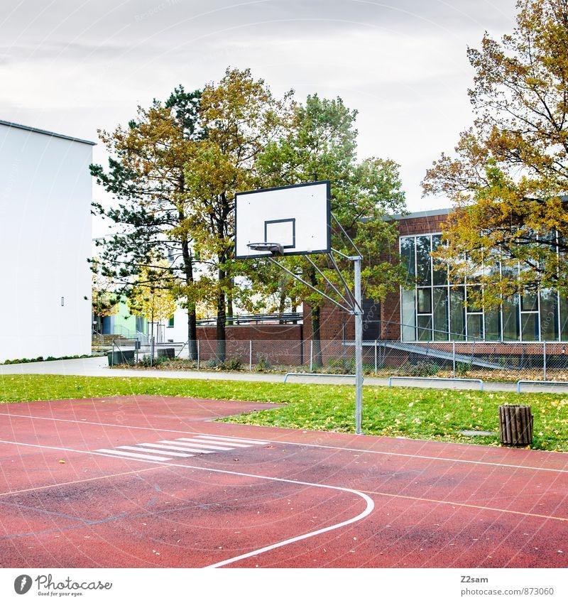 SPIEL R A U M Freizeit & Hobby Spielen Sportstätten Basketballplatz Basketballkorb Tartan Herbst Baum Gras Sträucher Wiese Stadt dreckig einfach kalt grün rot