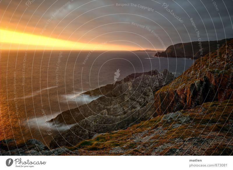 el ocaso Natur Landschaft Wasser Himmel Wolken Horizont Sonnenaufgang Sonnenuntergang Sommer Wetter Schönes Wetter Moos Felsen Gipfel Wellen Küste Bucht Riff