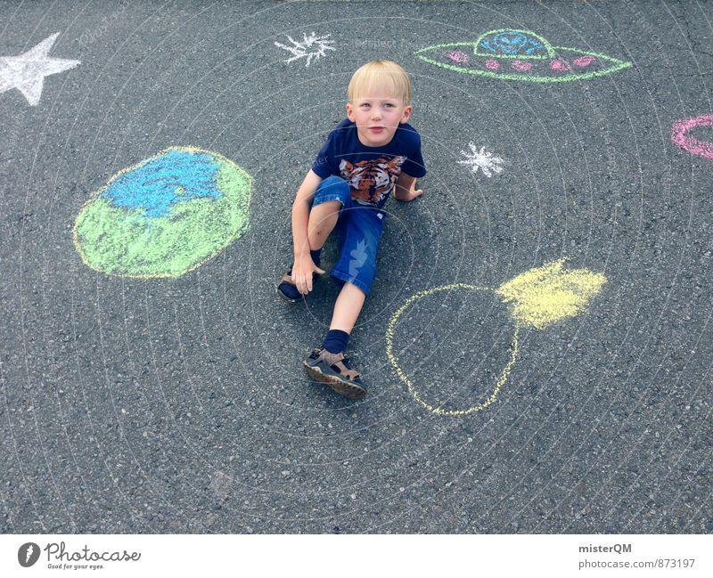 Little Kid Planet. Kind Straße Spielen Kunst Erde träumen Zufriedenheit Kindheit sitzen ästhetisch Kreativität Idee Kindheitserinnerung Weltall Fernweh