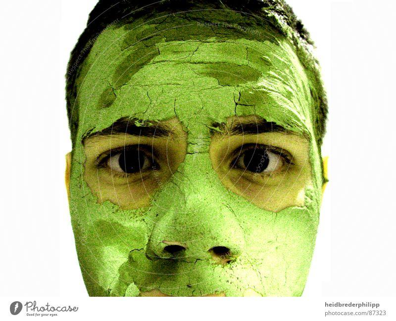 REAL grün Kunst Kunsthandwerk Gesicht Ich wirklich Maske Haut Wahre Welt schwarze Augen