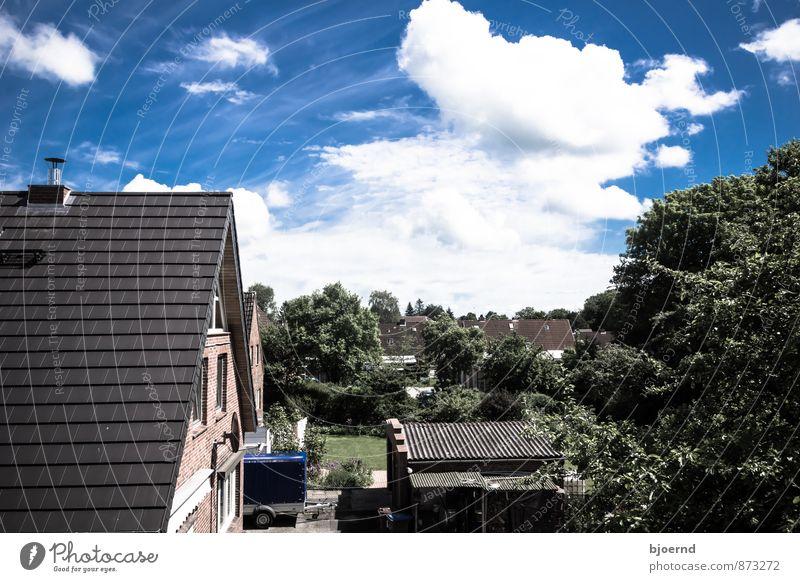 Dorfidylle Himmel blau grün weiß Baum Landschaft Wolken Fenster Wand Architektur Gebäude Mauer Horizont Zusammensein Fassade Idylle