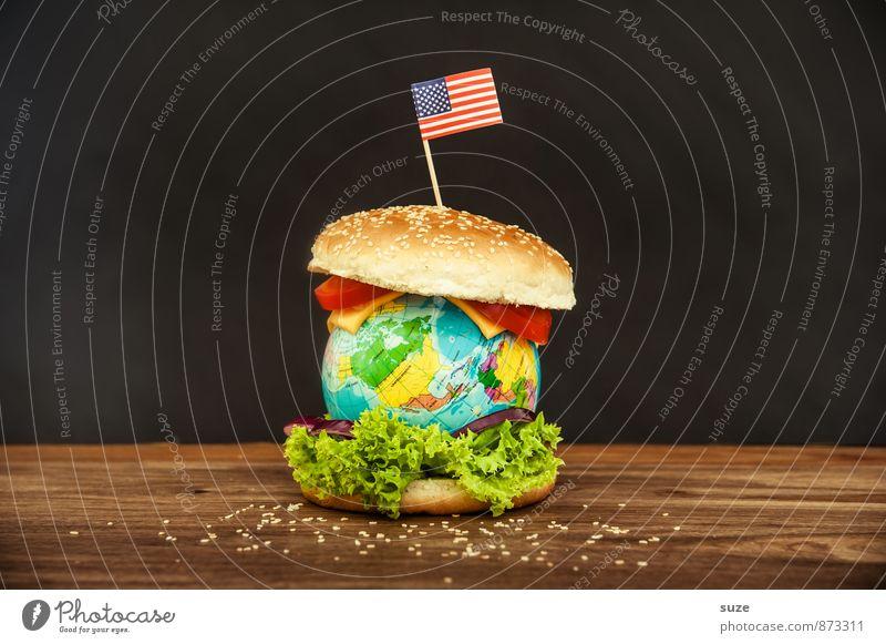 Der liebe Mitburger Lebensmittel Käse Salat Salatbeilage Ernährung Fastfood Lifestyle Übergewicht Erde Fahne Globus außergewöhnlich Unendlichkeit lecker