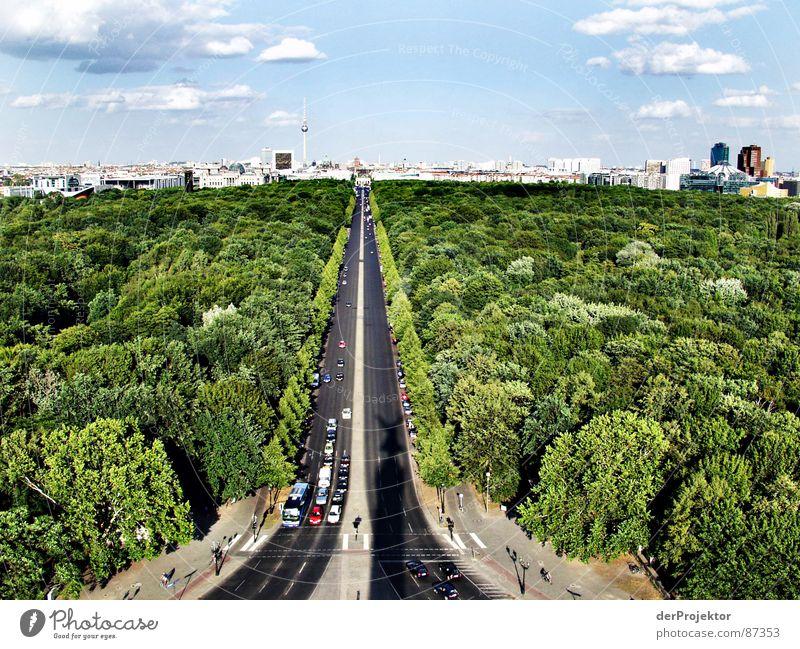 Der lange Schatten Regierungssitz Siegessäule Sommer Asphalt Tiergarten Wald grün Zoo Hauptstadt Stadtzentrum Verkehrswege Berlin verdunkeln