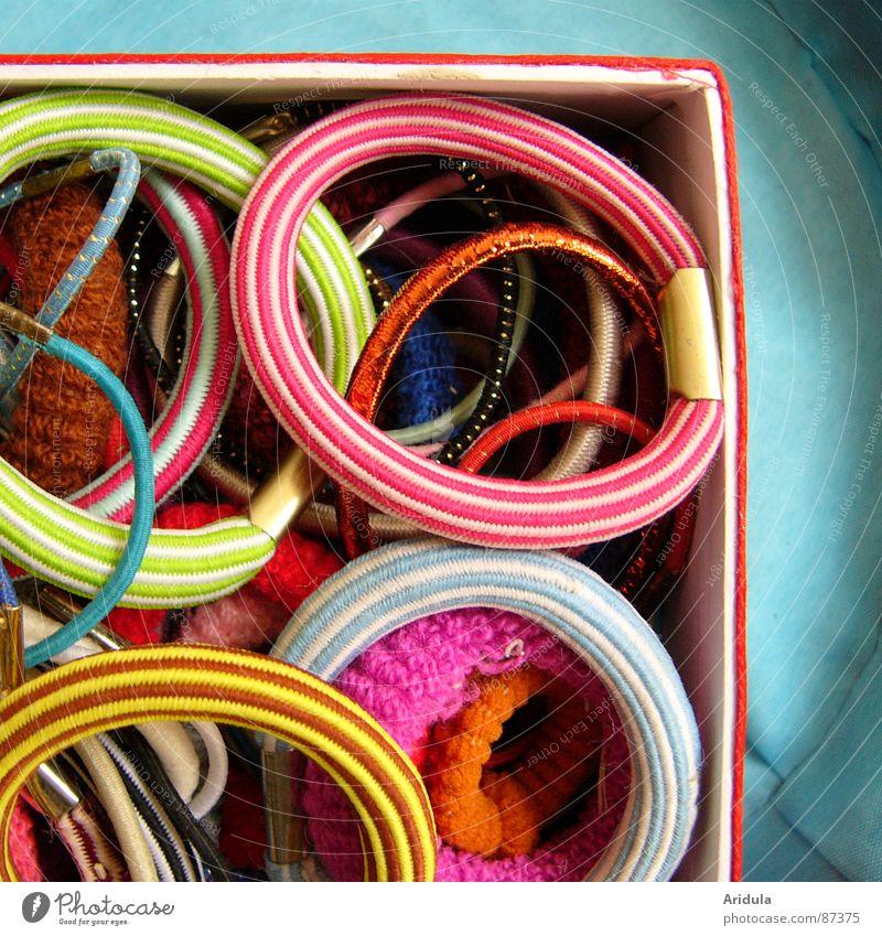 haargummies Haare & Frisuren Streifen rund schick Schachtel mehrfarbig schön Farbe bunt gemischt Lautsprecher