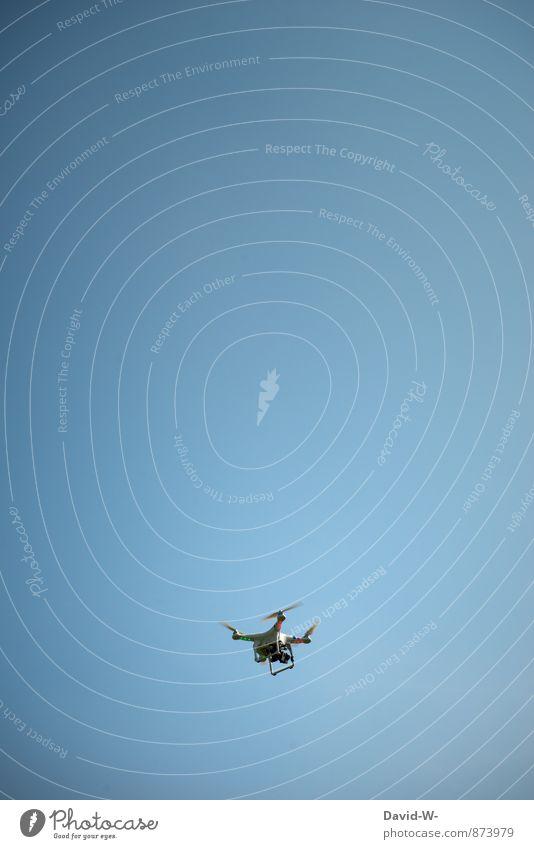 Unbekanntes Flugobjekt - spionage blau Freude Bewegung fliegen Luft Freizeit & Hobby Luftverkehr Fliege Technik & Technologie beobachten Zukunft