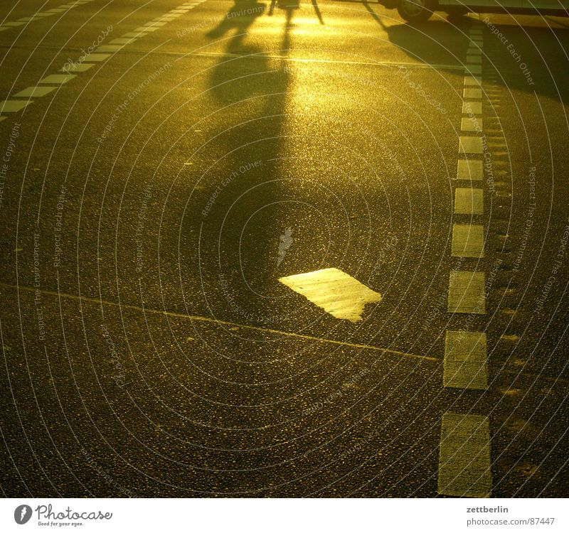 Gegenlicht Asphalt Fahrbahnmarkierung Verkehr Straßenverkehr Teer Fußgänger Fußgängerübergang strahlend blenden Sommer Feierabend Sommerabend Kreuzberg