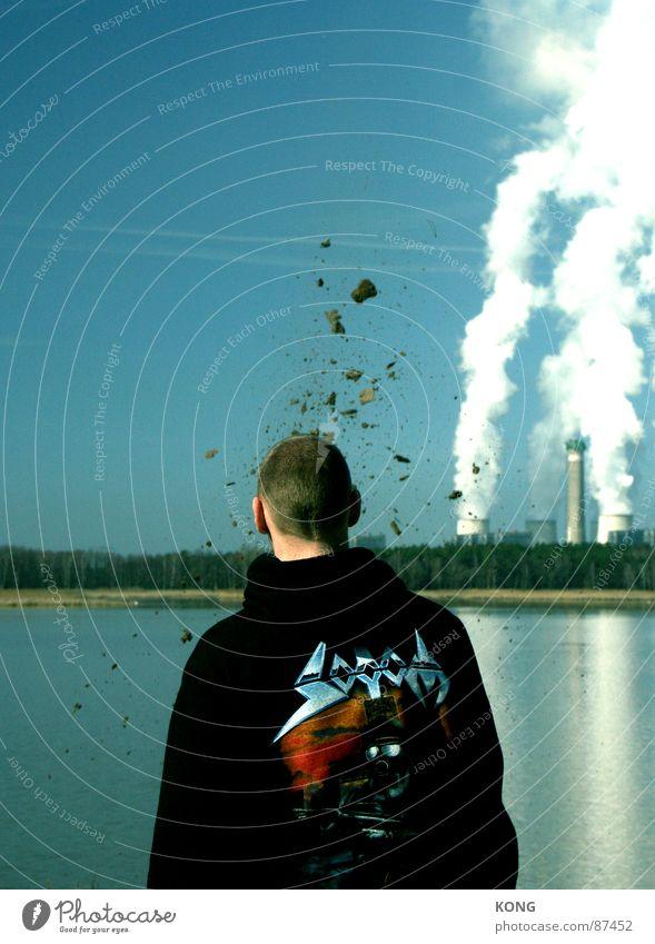 zuviel gedacht Mann Kopf dreckig planen Horizont Erde Industriefotografie Vergänglichkeit obskur Idee Wasserdampf Stromkraftwerke Explosion himmelblau Splitter