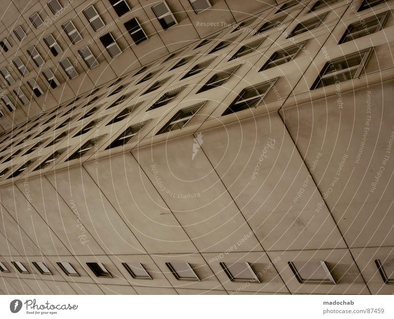 SELBSTFINDUNG Haus Hochhaus Gebäude Material Gleichgültigkeit Studentenwohnheim Fenster live Block Beton Etage trist dunkel Leidenschaft Spiegel Vermieter