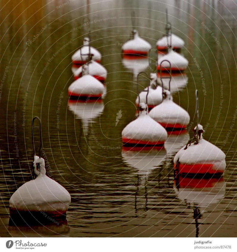 Bojen und Schnee Wasser Meer rot ruhig Schnee See mehrere Hafen viele banal 11 Boje Seezeichen Schneehaube