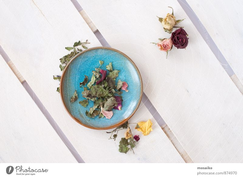 Tee blau weiß Gesunde Ernährung Erholung ruhig Leben Herbst Gesundheit Holz rosa Zufriedenheit Lebensfreude Fitness Kräuter & Gewürze Wellness Rose