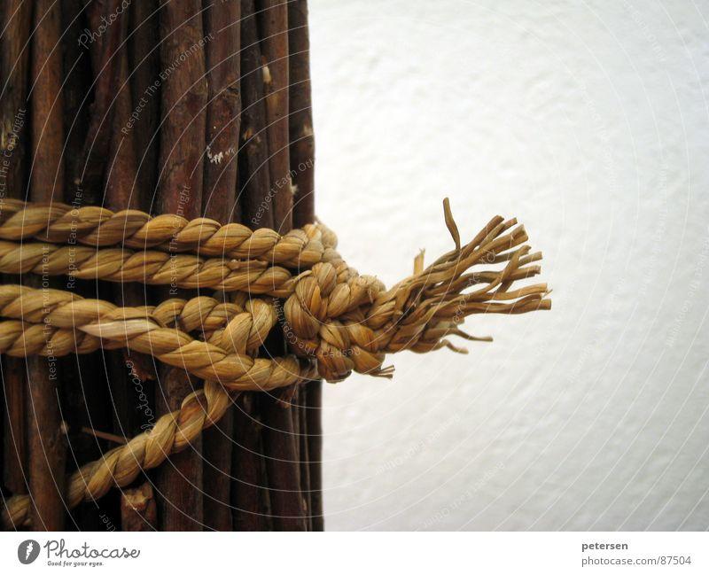 Gebündelt Holz braun Seil Dekoration & Verzierung Schnur Zweig Wohnzimmer Verbundenheit Knoten Biegung rustikal Franse haselnussbraun gefesselt anbiedern