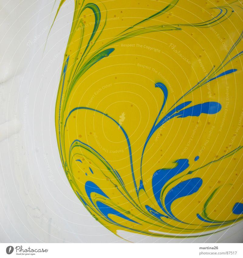 vor-Grün II Dispersionsfarbe Schliere gelb Flüssigkeit zähflüssig grün Verlauf Mischung Pflanze Muster Farbschicht Farbton streichen berühren Farbstoff
