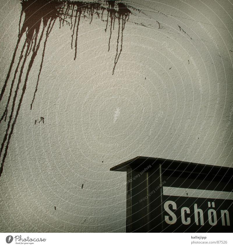 schöne sch... Graffiti Wand Stimmung Kunst braun Schilder & Markierungen Eisenbahn Körperhaltung Neigung Mitte Kot Meinung Eingang dumm Fleck