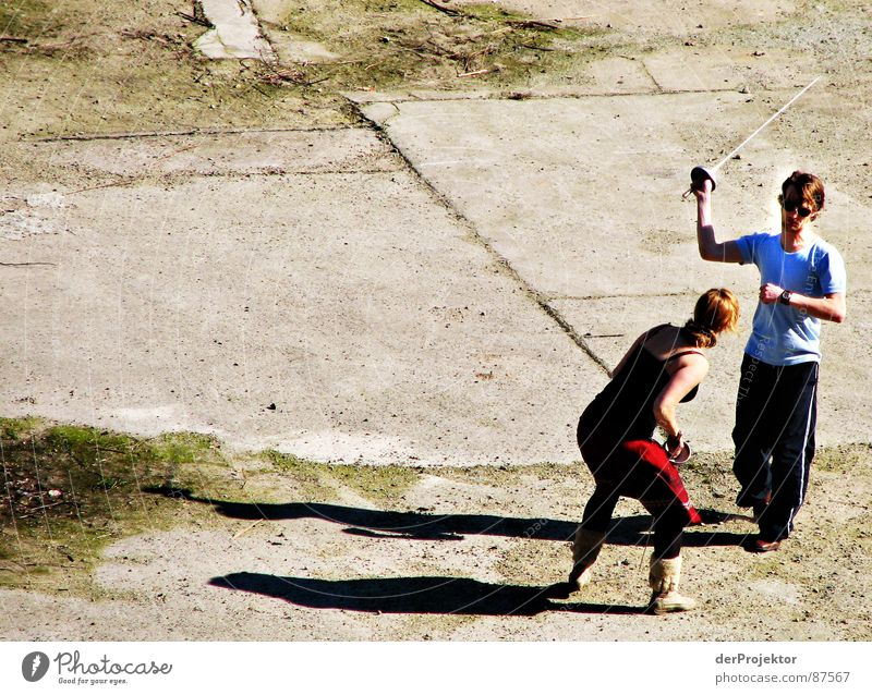 Asphalt-Duell 2 Frau Sonne Kraft kämpfen Fechten Degen