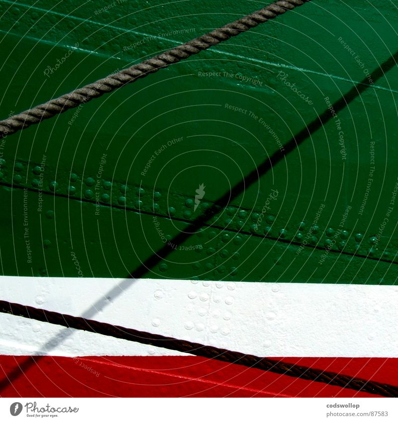0/0 grün rot Hafen Stahl historisch diagonal Schiffstau Stahlblech