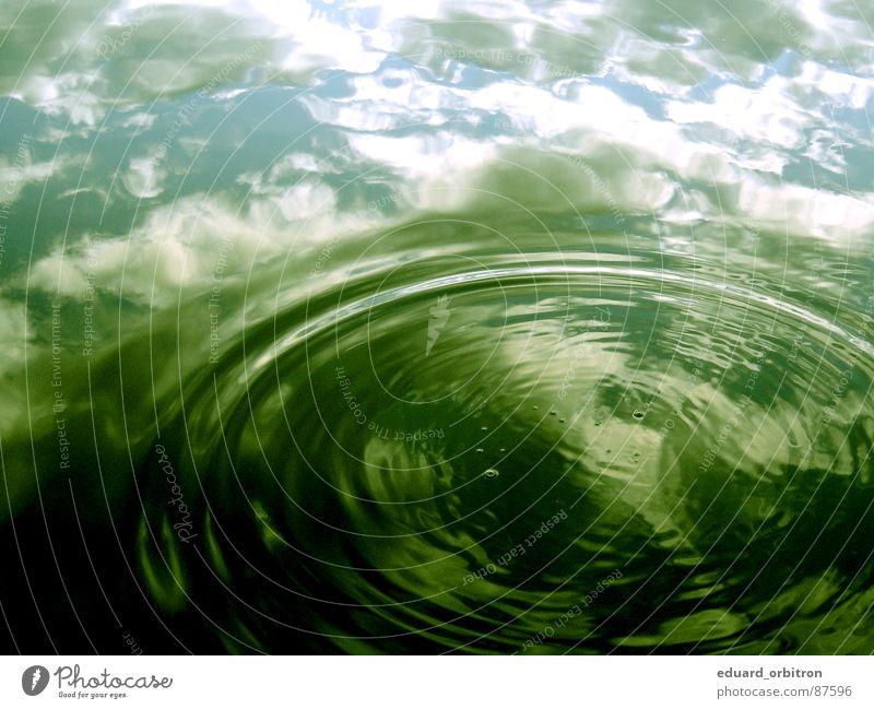 Hui....Wasser Farbfoto Außenaufnahme Menschenleer Reflexion & Spiegelung Wellen Umwelt Natur Himmel Wolken See Fluss grün Spiegelbild Wasserstand gießen