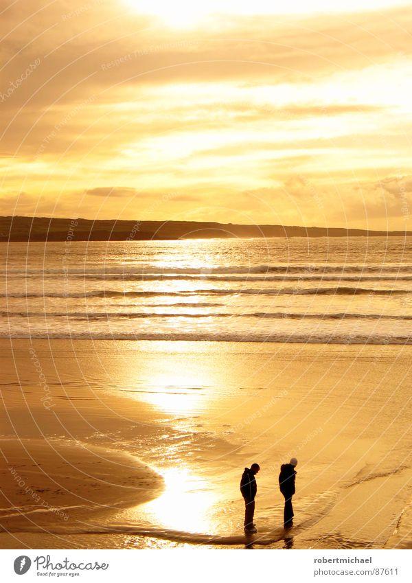 goldstrand Landzunge See gelb Sonnenuntergang Sonnenaufgang 2 Sommer träumen Himmel Romantik Meer Horizont Spiegel Reflexion & Spiegelung Brandung Wellen