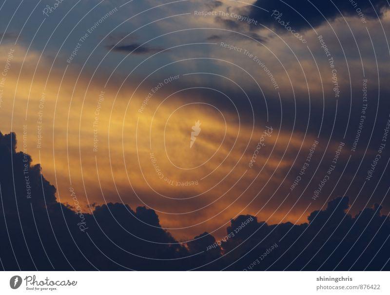 dämmern. Natur Luft Himmel Wolken Sonnenaufgang Sonnenuntergang Sommer Herbst Wetter dunkel gigantisch blau orange Macht Ende Gedeckte Farben mehrfarbig