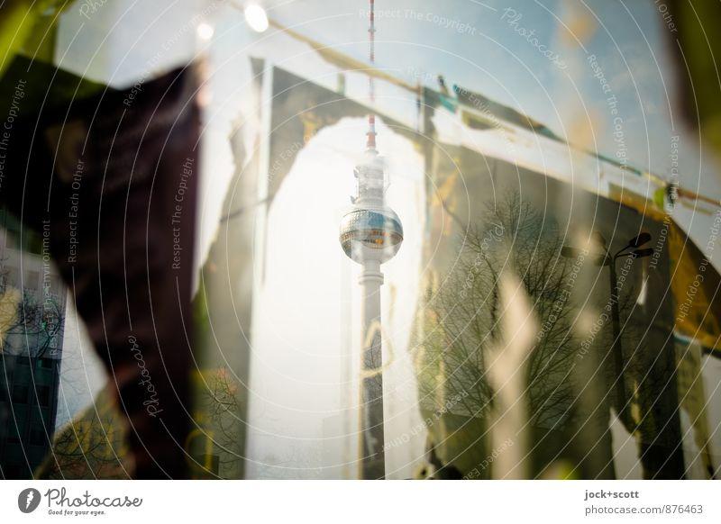 Plakat Aktion Stil Glück Sightseeing Ausstellung Subkultur Himmel Frühling Klimawandel Berlin-Mitte Hauptstadt Fenster Wahrzeichen Berliner Fernsehturm