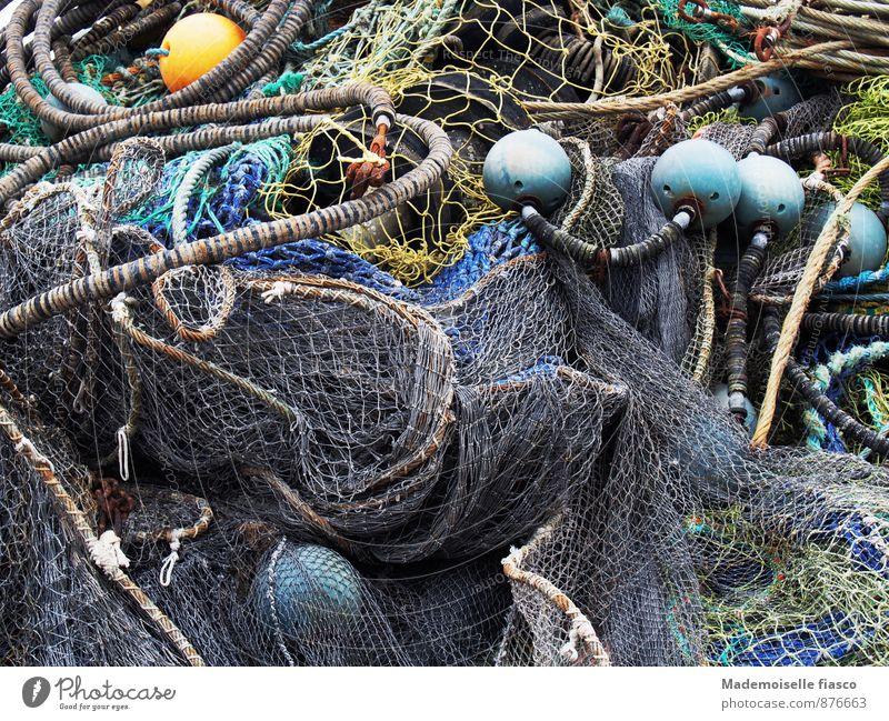 Fischernetz an Land Angeln Seil Netz blau gelb grau grün fischeln Farbfoto Außenaufnahme