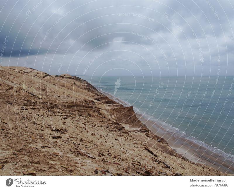 Viel Sand am Meer Natur grün Wasser Einsamkeit Landschaft Wolken Strand Ferne Umwelt Bewegung Herbst Küste grau Freiheit