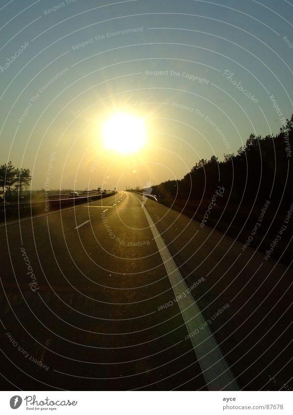 Der Sonne entgegen Autobahn Gegenlicht Sonnenuntergang Süden Asphalt Straßenbelag Zufahrtsstraße Planet Schnellstraße Fernstraße Ferne Ferien & Urlaub & Reisen
