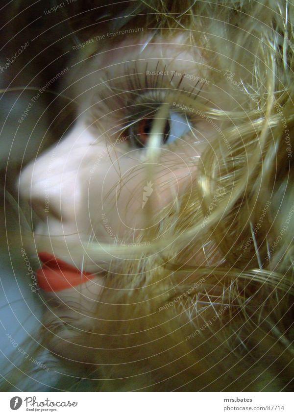 püppchen Puppe blond geschminkt Nahaufnahme Perspektive Gesicht Marionette Hautfarbe Schaufensterpuppe Makroaufnahme puppengesicht gesichtspunkt gesichtserker