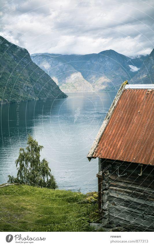 fjord Natur Landschaft Wetter Schönes Wetter Küste Bucht Fjord Meer Traumhaus Hütte Idylle Norwegen Norwegenurlaub Erholung Ferien & Urlaub & Reisen Holzhaus