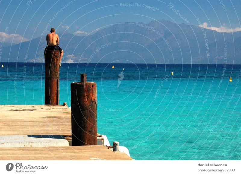 ~~~~~~~~~~~ Wasser Himmel Meer Sommer Ferien & Urlaub & Reisen Berge u. Gebirge fahren Freizeit & Hobby Schwimmen & Baden Frankreich Sonnenbad Schönes Wetter zyan Mittelmeer Korsika