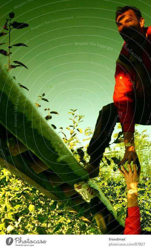 i can feel it gedreht Spiegel grün Hand gebeugt aufregend Blume Verlauf Erfrischung Gleise Finger Stil Reflexion & Spiegelung Denken Zukunft Tiefgang mehrfarbig