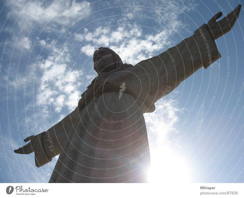 Christo Rei Himmel Sonne Wolken Arme Frieden Statue Denkmal Skulptur Wahrzeichen Jesus Christus Gotteshäuser