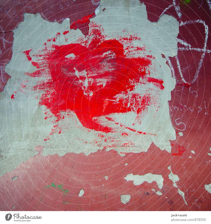 Absolutrot Farbe rot Graffiti Gefühle Liebe Glück Beton Herz einzigartig Romantik Ziffern & Zahlen Kitsch Sehnsucht fest Leidenschaft trendy