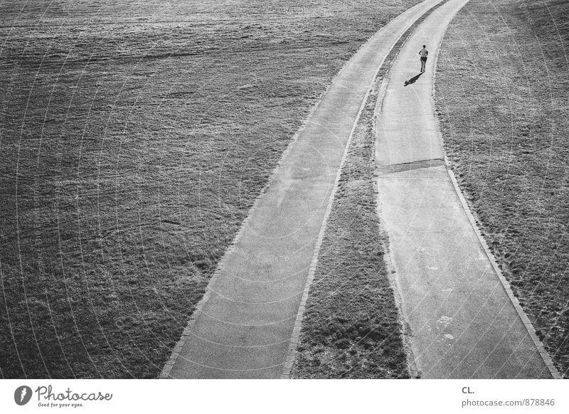 laufen Mensch Einsamkeit Erwachsene Leben Wege & Pfade Sport Gesundheit Freizeit & Hobby Perspektive Zukunft Ziel sportlich Sportler Joggen Entscheidung