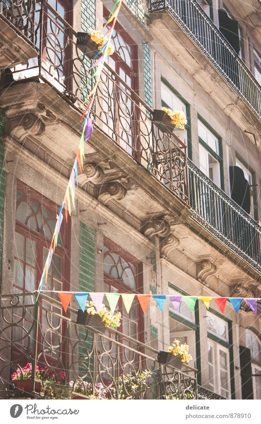 Porto Ferien & Urlaub & Reisen Stadt Blume Haus Fenster Wand Architektur Mauer Gebäude Spielen Fassade Geländer Fahne Bauwerk Balkon Fliesen u. Kacheln