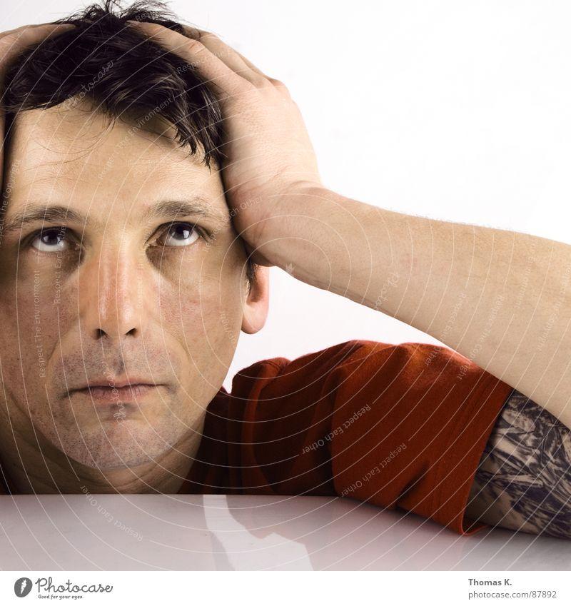 Alles Gute kommt von oben Farbe Haare & Frisuren Kopf Denken warten Arme Glas Körperhaltung Vergänglichkeit Stengel Tattoo Kristallstrukturen Aufenthalt Becher