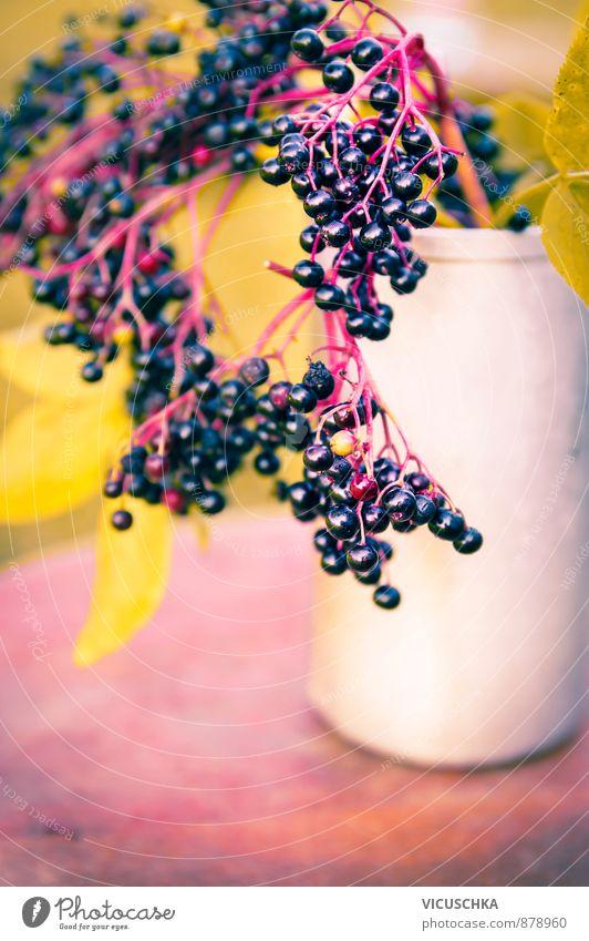 reife Holunderbeeren auf dem Tisch im Herbst Garten Sommer Natur Blumenstrauß elderberry sambucus nigra close up fruit healthy tree natural fresh autumn Vitamin