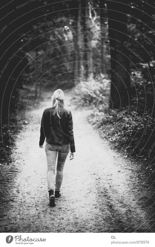 der weg ist nicht das ziel Lifestyle Mensch feminin Junge Frau Jugendliche Erwachsene Leben 1 18-30 Jahre Umwelt Natur Baum Sträucher Wald Jeanshose Lederjacke