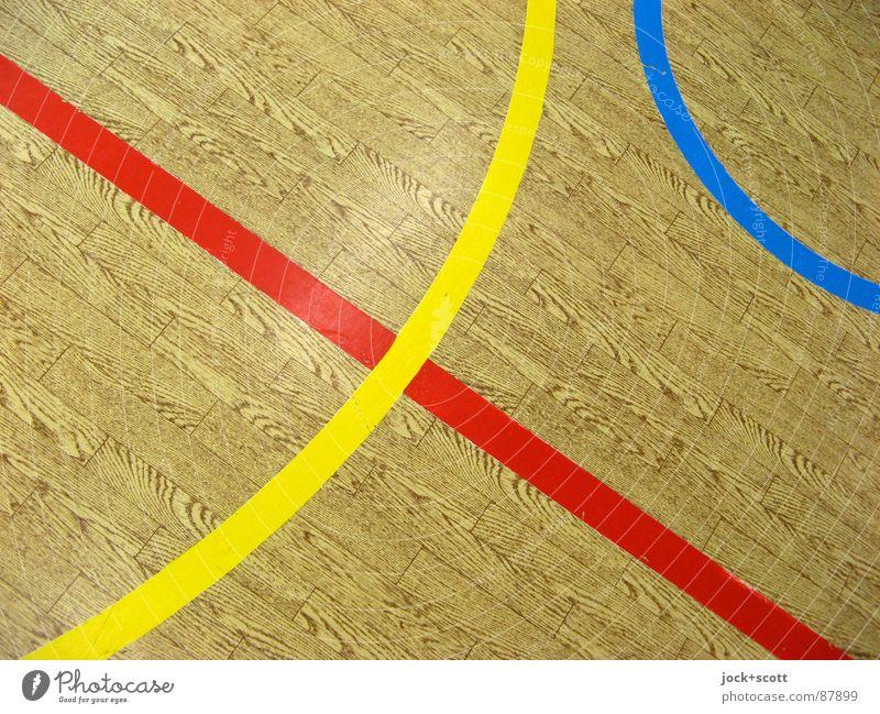 Linien auf Holzimitat, RGB Stimmung Design Konzentration Ordnung Perspektive kreuzen Norm Geometrie Regel Spielfeld wahrnehmen Treffpunkt gebraucht Linienstärke
