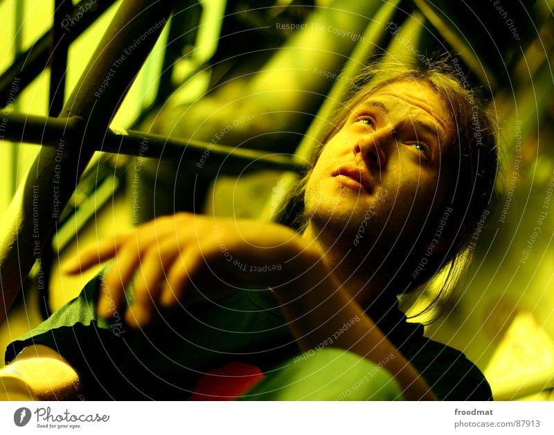 yellow mood Porträt gelb Denken ruhig Hand Fabrik Jugendliche festbrennweite focus Filter Auge Haare & Frisuren introvertiert In sich gekehrt