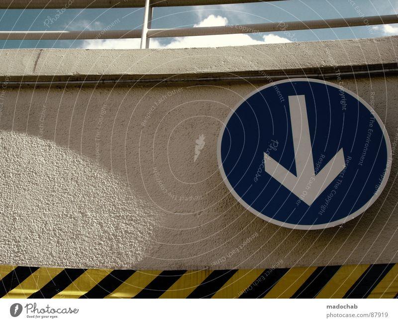 THIS WAY rot Stil Denken Linie dreckig Hintergrundbild Schilder & Markierungen Verkehr Aktion einfach Streifen Pfeil Richtung trashig Hinweisschild