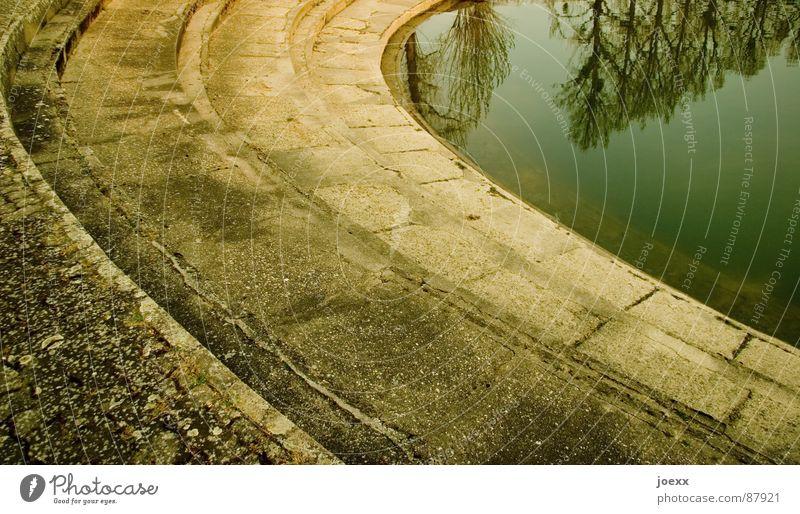 stufen in die tiefe Wasser Einsamkeit Stein Hoffnung Treppe verfallen tief Kurve Baumkrone verloren Karriere Am Rand Lebenslauf Kieselsteine abgelegen