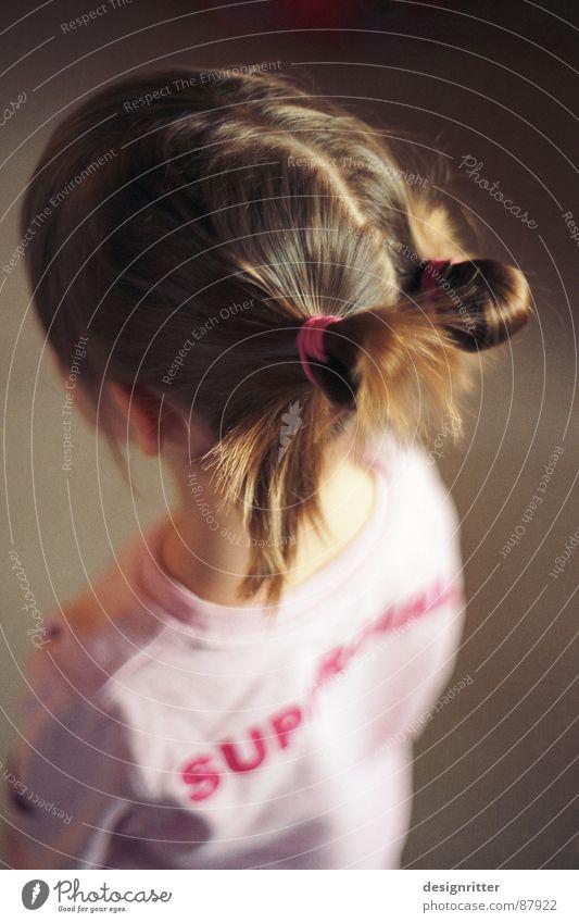 Guck mal Papa Kind Mädchen Haare & Frisuren rosa Billard Pullover Zopf Queue
