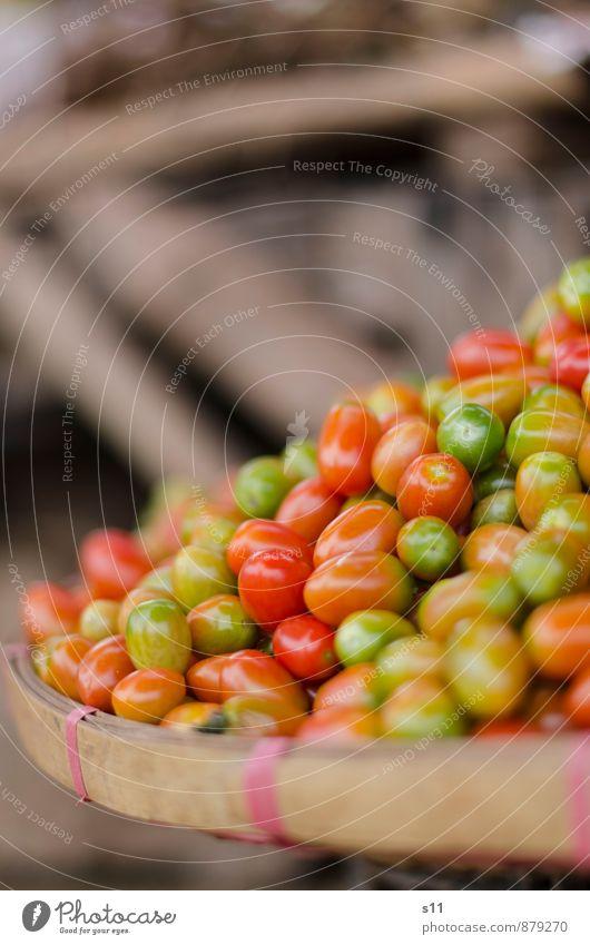 bunte Tomaten schön grün rot natürlich klein Gesundheit braun Lebensmittel glänzend orange leuchten frisch Ernährung süß rund gut