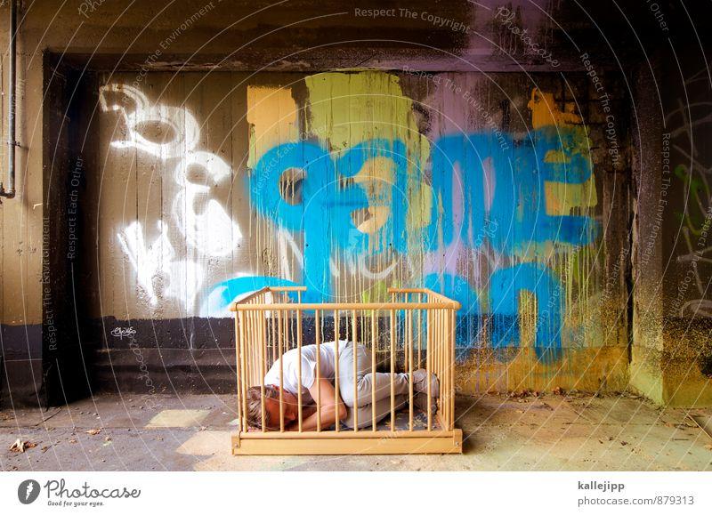spielverbot Mensch maskulin Kind Mann Erwachsene Körper 1 Graffiti schlafen Kinderbett Schlafzimmer Spielen stall Gitter gitterstäbe eingeschlossen Einsamkeit