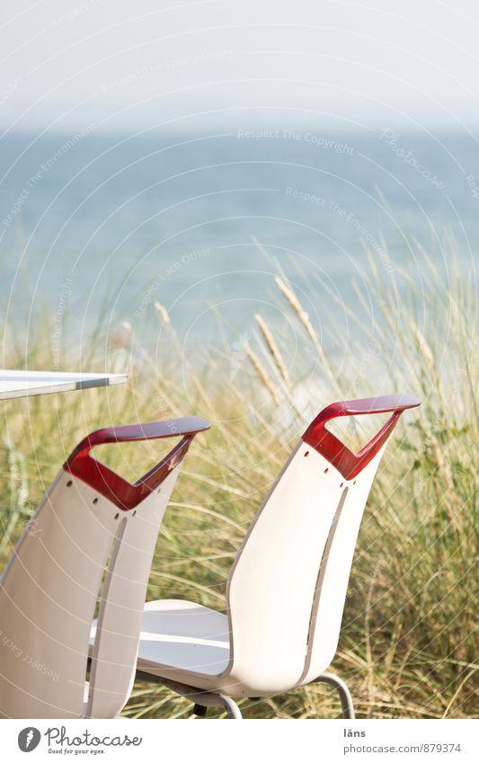leise weht der Wind Ferien & Urlaub & Reisen Pflanze Sommer Sonne Meer Erholung Landschaft Strand Küste Horizont Tourismus Platz Ausflug Aussicht Tisch